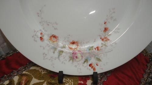 fuente limoges redonda porcelana antigua pintada veala