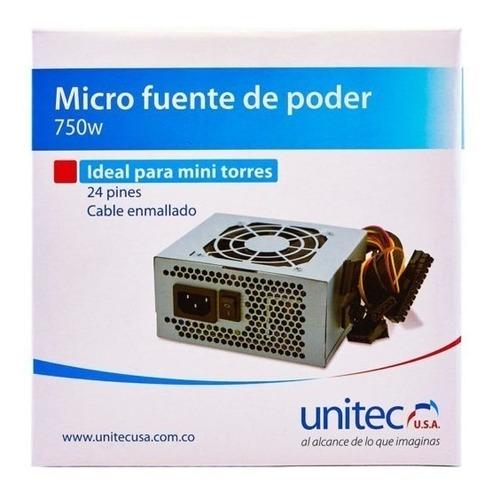 fuente micro atx de poder unitec 750w mini