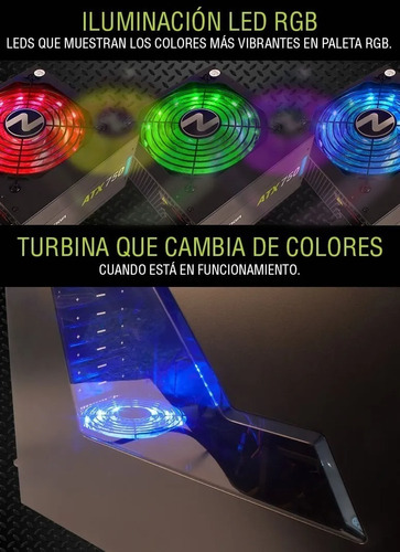 fuente noganet rgb 700w led cooler 120mm 2x6 pines +2 video