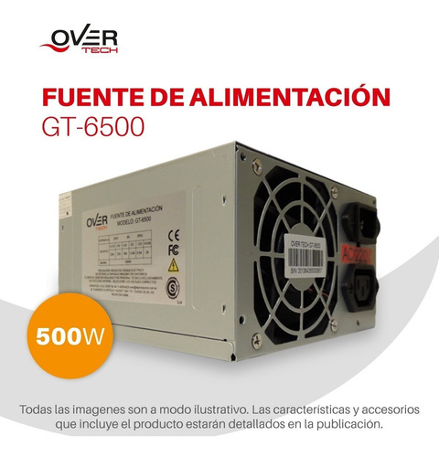 fuente overtech gt-6500 500w atx pc