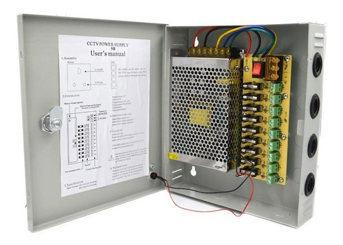 fuente para cámaras con gabinete 12v 10ah 9 ch -electrocom-