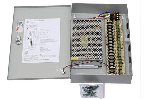 fuente para cámaras con gabinete 12v 20ah 18 ch -electrocom-