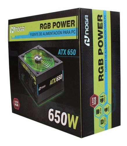 fuente para pc alimentacion noga atx 650 rgb luces led 650w