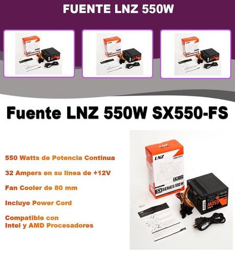 fuente pc gamer lnz 550w sx550-fs cooler 40a + gtia 1 año !