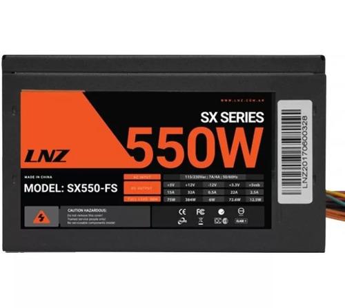 fuente pc gamer lnz 550w sx550-fs cooler 40a + gtia