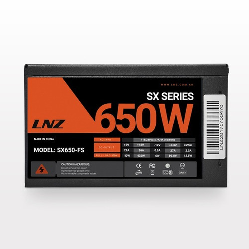fuente pc gaming 650 watts lnz sx650-fs mallado cooler 120mm