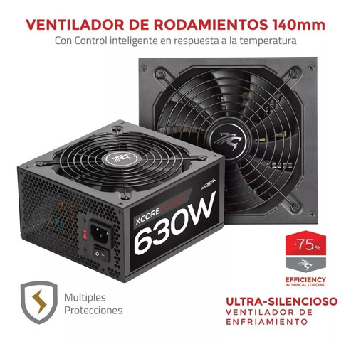 fuente pc sentey xcp630 630w real fan 140mm 2 x pci-e 6p atx