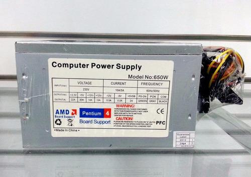 fuente poder 650 atx case computadora intel amd laschimeneas