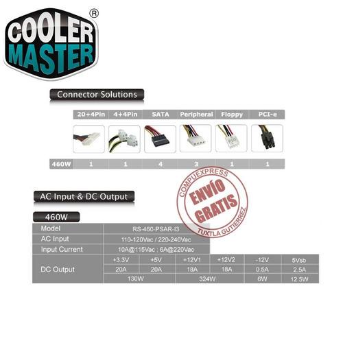 fuente poder cooler master watts