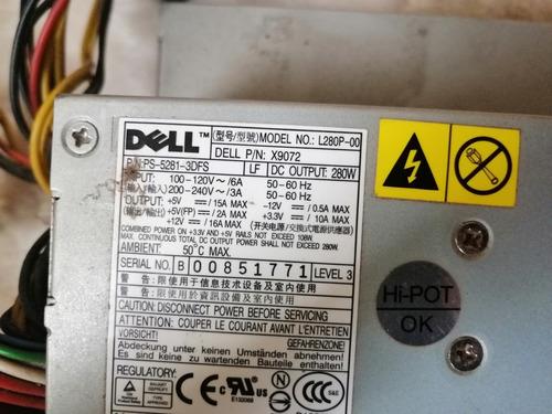 fuente poder dell model l280p-00 optiplex 755 280w x9072