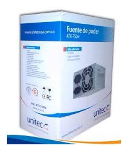 fuente poder unitec atx750w pc intel amd 24 pines protección