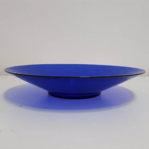 fuente redonda de vidrio azul diámetro 35 cm - impecable!!