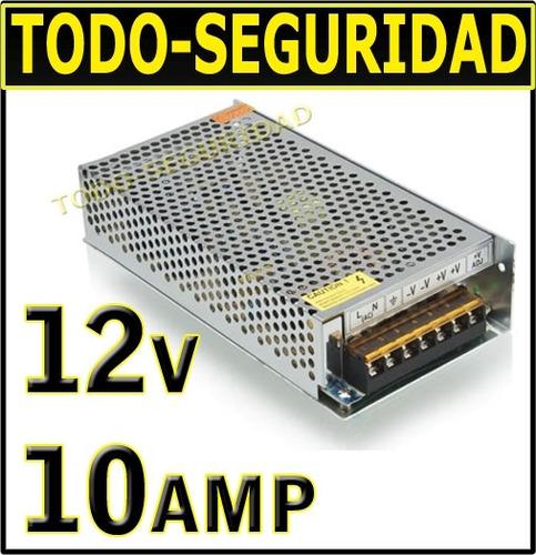 fuente switching 12v 10a 10amp tira leds camara cctv seguridad bornera metalica