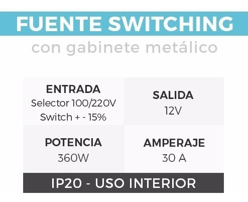 fuente switching metalica 12v 29a 350w - todoenled s350w12v