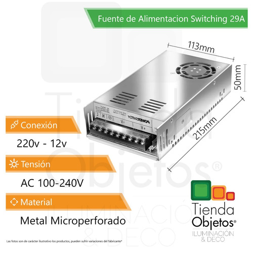fuente switching metalica 12v 29a amp cctv tira led