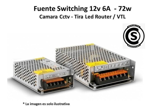 fuente switching metalica 12v 6a 72w reales led cct garantia