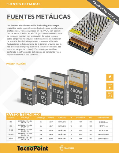 fuente switching metalica interior 12v 3 amp tecnopointled