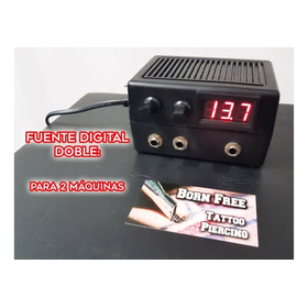 Fuente Tatuar Doble Digital 2 Maquinas 2 Amp Tattoo Cables