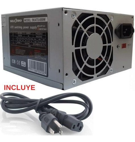 fuentes de poder de 650w atx sata para computadora pc
