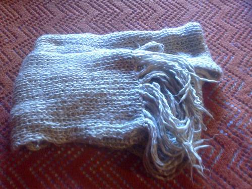 fufanda de lana con flecos extra larga color gris perla