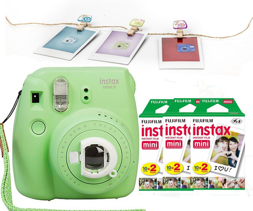 fuji instax mini 9 verde lima 60 fotos 10 broches nueva