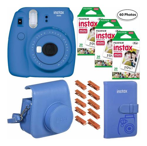 fujifilm instax mini 9 (azul cobalto), 3x instax film (60 ho