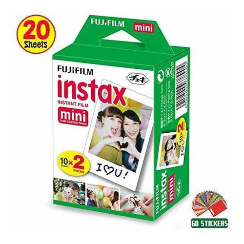 fujifilm instax mini instant film 1 pack - 20 hojas + 60 peg
