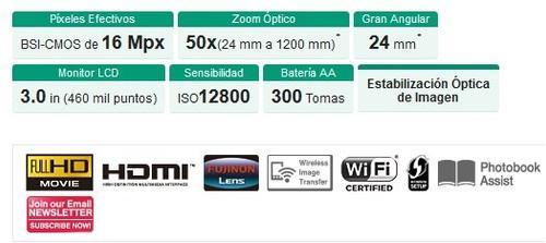 fujifilm s9400w zoom 50x, wifi, sd 8g, estuche, estado 10/10