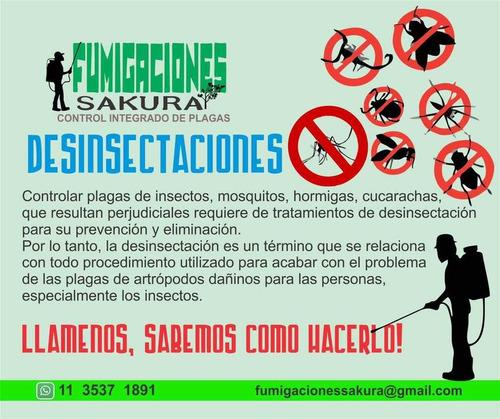 fumigacion control de plagas desinfección  caba y zona norte