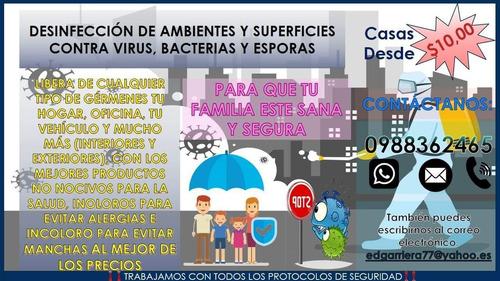 fumigación para desinfección de superficies y ambientales