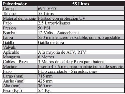 fumigador pulverizador plastico uv 55 l 12v plagas santini