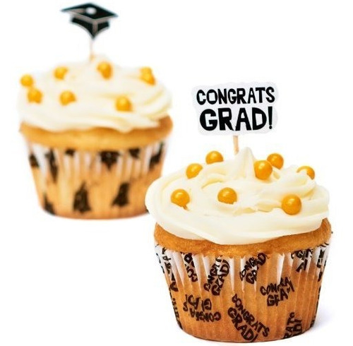fun express congrats graduation cupcake liners and picks paq
