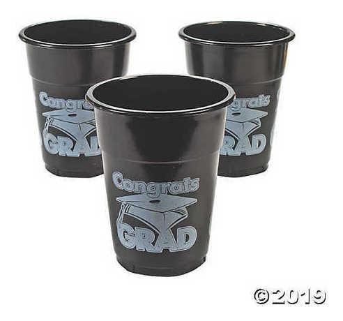 fun express tazas de plástico   felicidades grad   negras