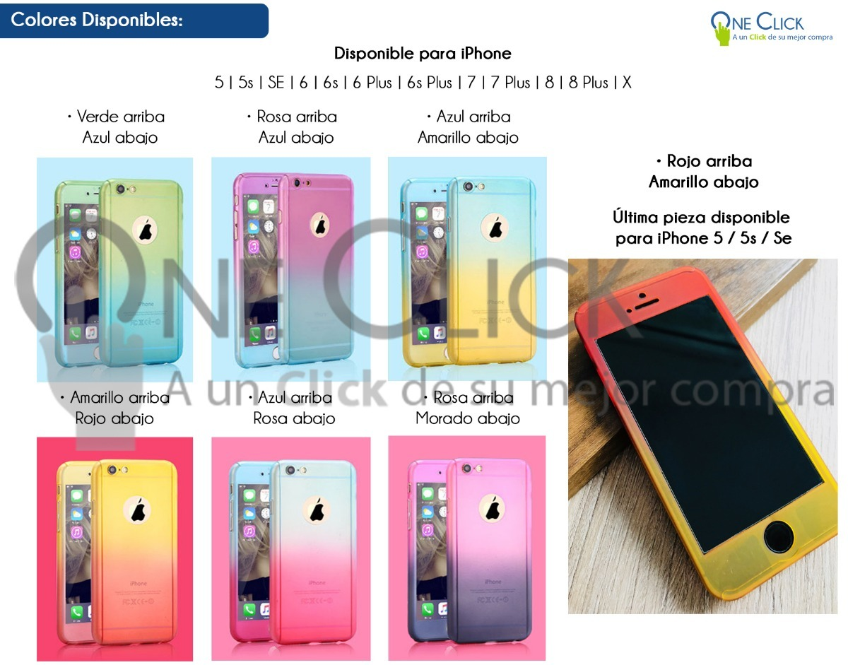 17130988905 Funda 360 Bicolor iPhone X 8 7 6 Plus 6s Se 5 + Mica - $ 169.00 en ...