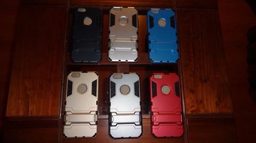 funda carcasa ironman hibrida 3 en 1 iphone 6, 6s + lamina