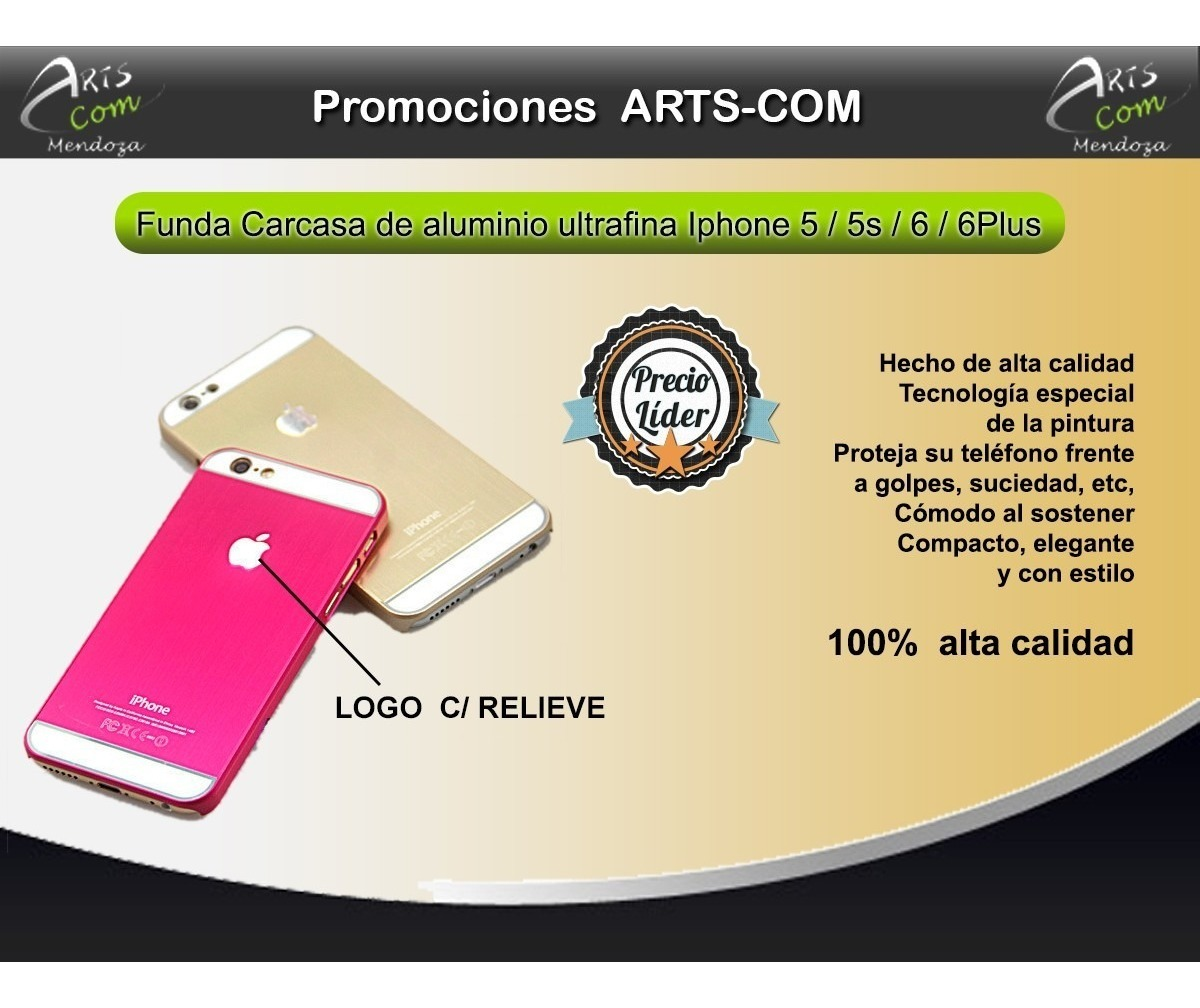 12ec39acadf Funda Carcasa Metalica Aluminio iPhone 5 5s 6 6plus - $ 499,90 en ...