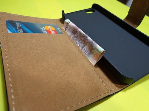 funda cartera iphone 5 5s piel posiciones+ regalo