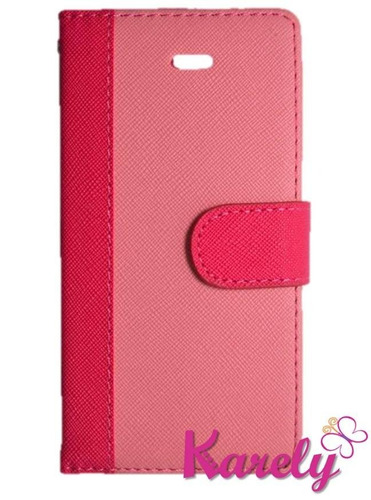 funda cartera lg l70 bicolor rosa verde cafe