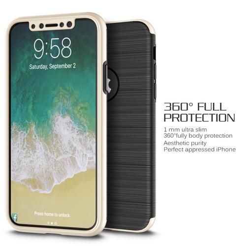 funda case + cristal temp 360 iphone xs/x (no max) cap gld