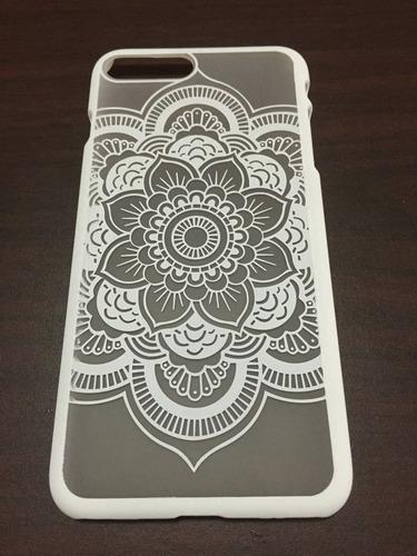 funda case iphone 6 6s 7 7 plus mandala rígida blanca negra