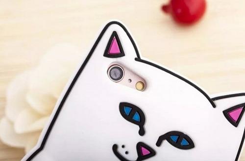 funda case iphone 7 plus gatito rebelde silicon suave 3d