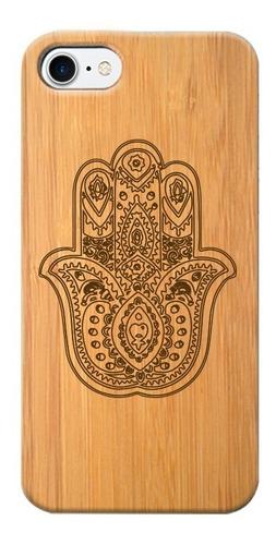 funda celular de madera - iphone y samsung- mano hamsa