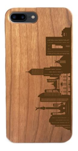funda celular de madera - iphone y samsung - méxico skyline