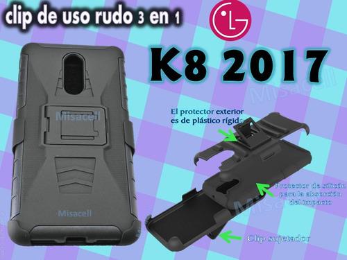funda clip uso rudo 3 en 1   lg k8 2017 :)