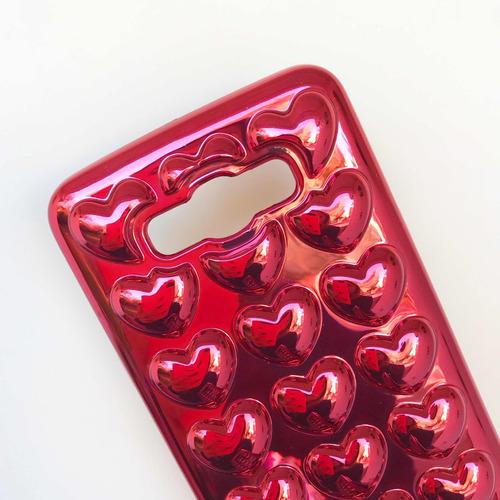 funda corazones 3d glitter lisa rosa negra samsung j7 2016