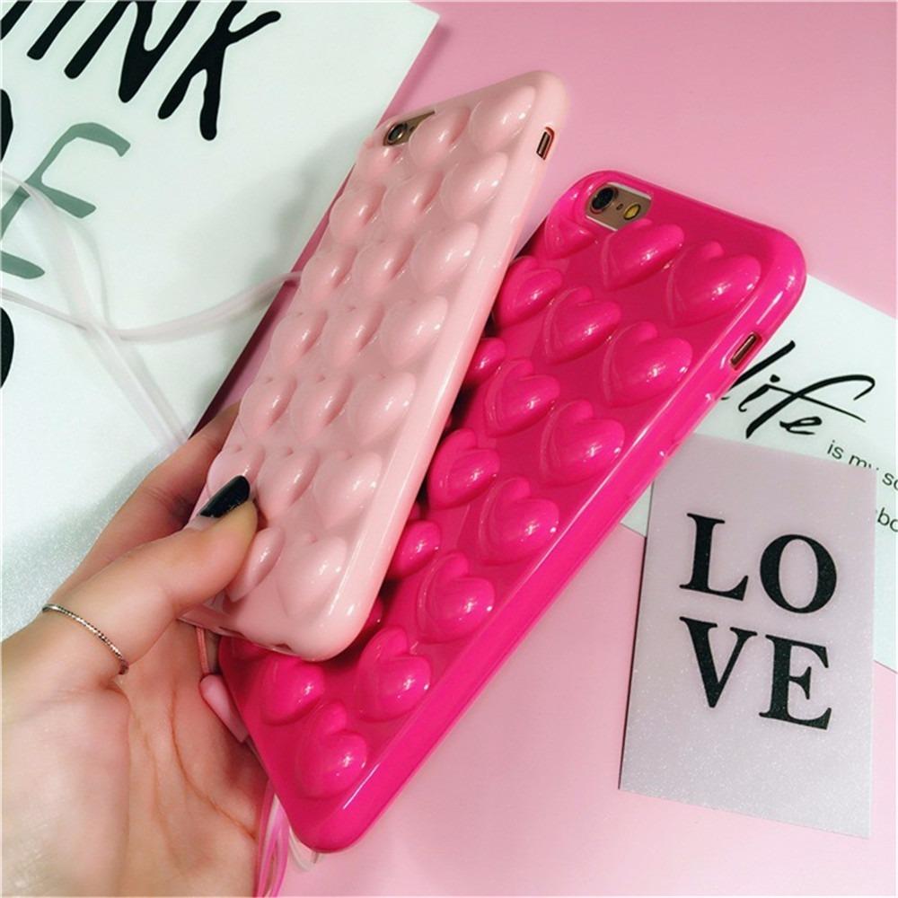 Funda Corazones 3d Relieve Rosa Magenta Iphone 7 8 7 Plus 8