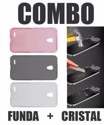 funda crystal case + cristal templado alcatel go play 7048a