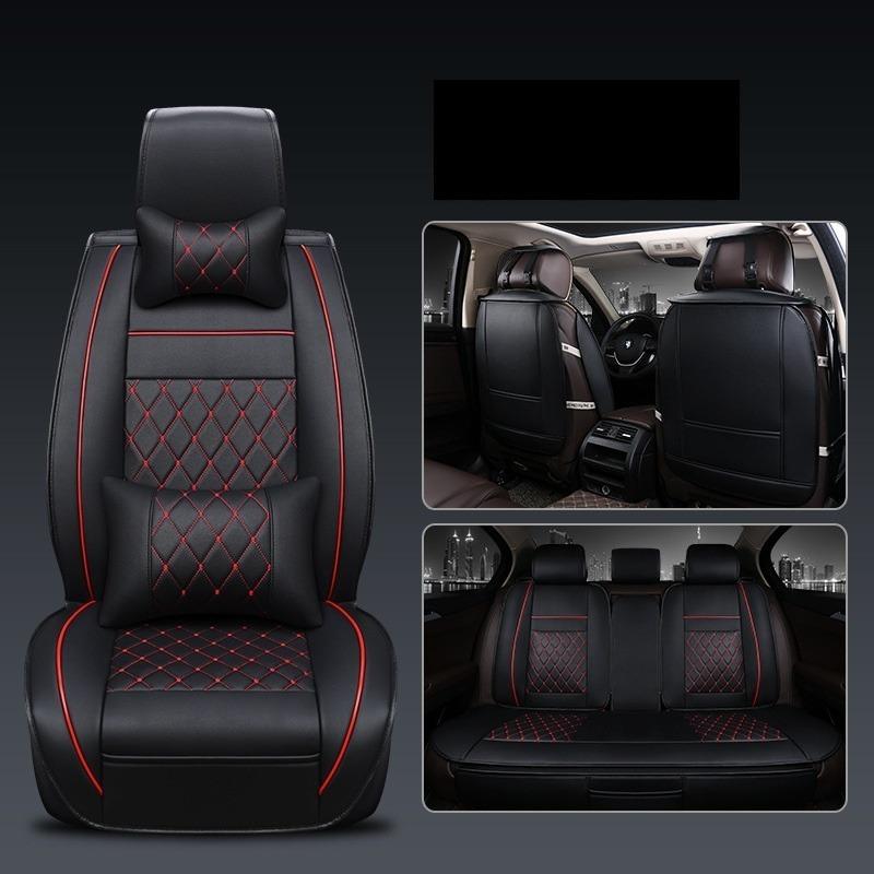 Cuero PU Marrón Deluxe asiento delantero cubre Acolchado Para KIA Hyundai