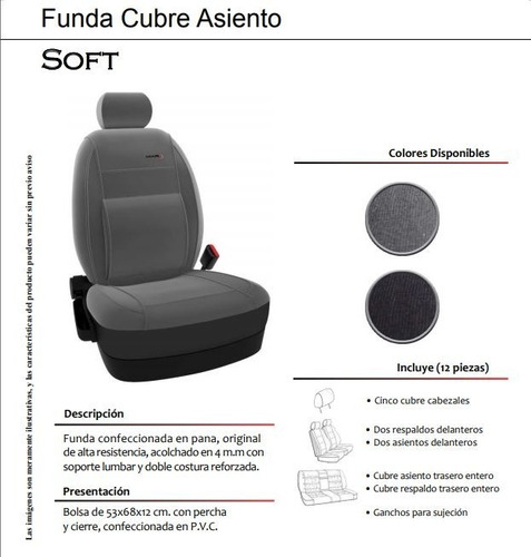funda cubre asiento pana soft - peugeot 205 mkr
