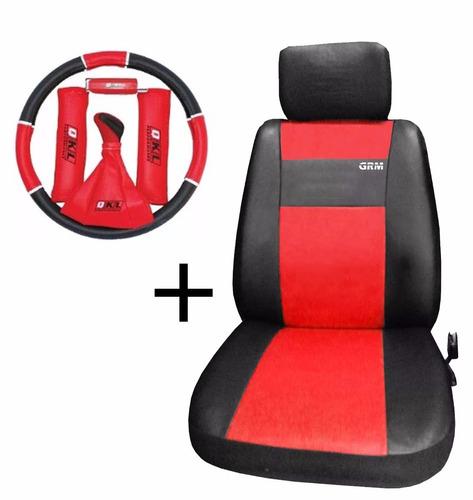 funda cubre asientos cuero + kit tuning - rojo cubre volante